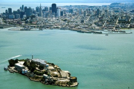 alcatraz aerial shot