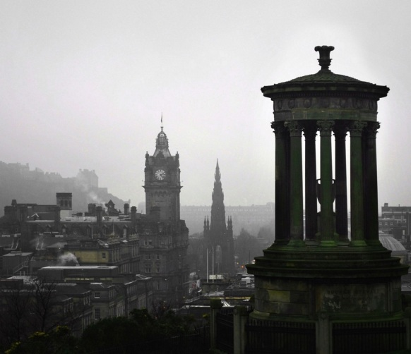Calton HIll on a foggy day